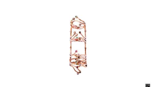 anello full genesis verticale bronzo e zirconi colorati