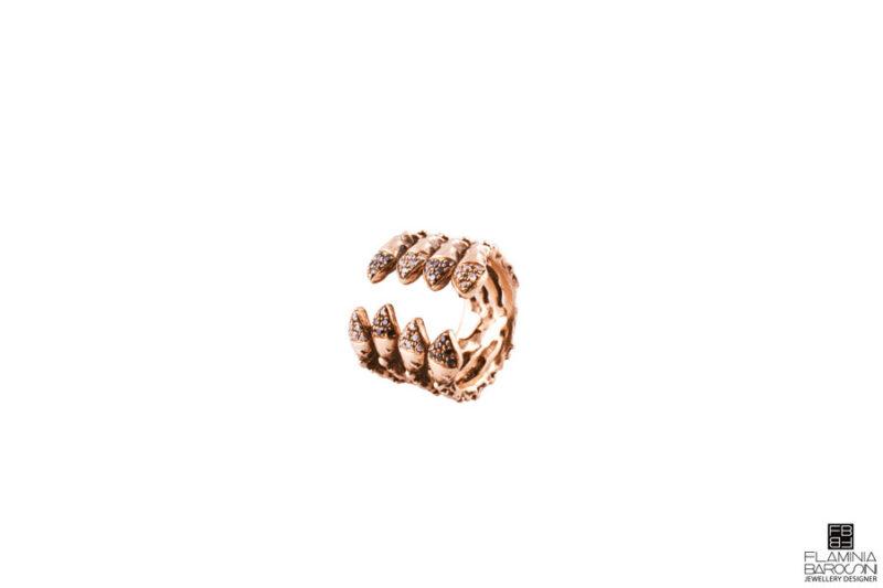 Anello quadruplo mandevilla zirconi bianchi e neri